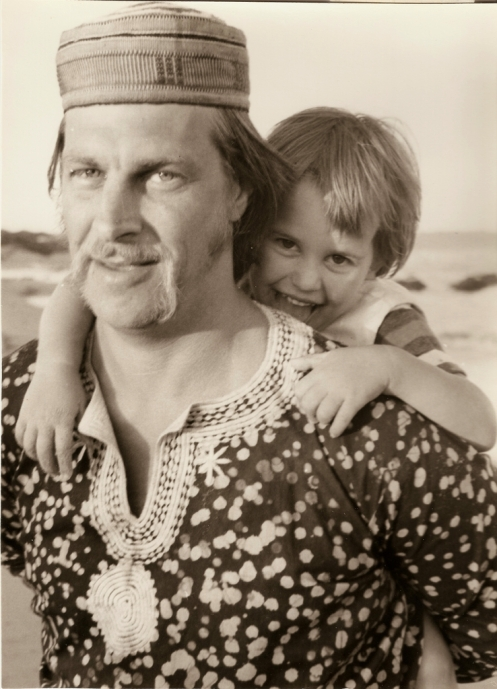 Chris with daughter Andromeda at Qolora River Mouth during his first visit back to South Africa after leaving in 1964. December 1970
